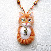 Украшения handmade. Livemaster - original item Brooch pendant Cat made of wool orange cat, Cat portrait kitten. Handmade.