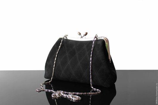Женские сумки ручной работы. Ярмарка Мастеров - ручная работа. Купить Замшевая черная сумочка, черная сумка, кожаная сумка, черный. Handmade.