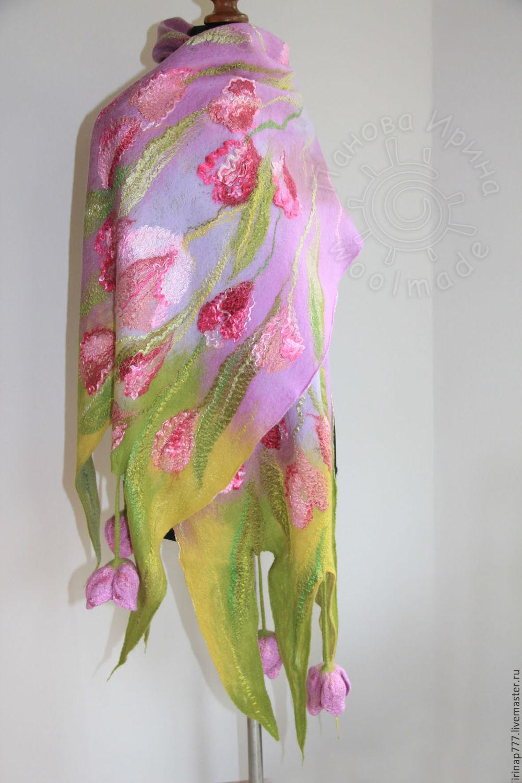 """Купить палантин """"Утро весны"""" - розово-сиреневый, сиренево-розовый, весна, весенние цветы, тюльпаны"""