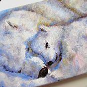 handmade. Livemaster - original item Heat together acrylic Painting on canvas (blue polar bears). Handmade.