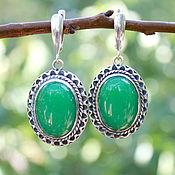 Украшения handmade. Livemaster - original item Silver Giselle earrings with jadeite 925 sterling silver. Handmade.