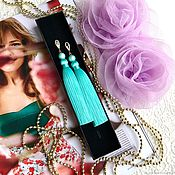 Украшения handmade. Livemaster - original item Earrings tassels mint, Jasmine green silk turquoise stones pearls. Handmade.