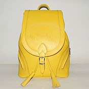 Сумки и аксессуары handmade. Livemaster - original item Backpack women`s leather yellow