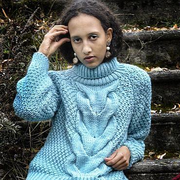 """Одежда ручной работы. Ярмарка Мастеров - ручная работа Пуловер крупной вязки """"Прохлада Нормандии"""". Handmade."""