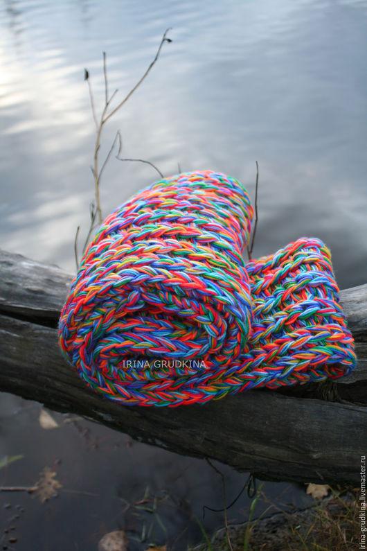 Шарфы и шарфики ручной работы. Ярмарка Мастеров - ручная работа. Купить Радужный снуд. Handmade. Снуд, снуд шарф труба