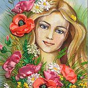 Картины и панно ручной работы. Ярмарка Мастеров - ручная работа Картина вышитая лентами Девушка с полевыми цветами. Handmade.