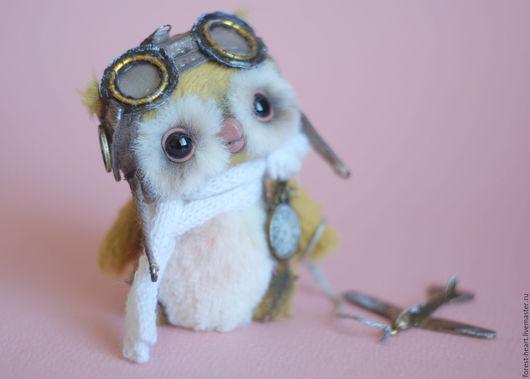 Мишки Тедди ручной работы. Ярмарка Мастеров - ручная работа. Купить Авиатор Вилфорд коллекционная авторская игрушка сова миниатюра. Handmade.
