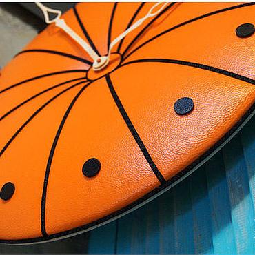 """Для дома и интерьера ручной работы. Ярмарка Мастеров - ручная работа Часы 50 см кожаные, оранжевые """"Julich. Orange&Black"""". Handmade."""