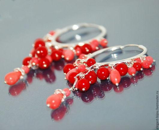 Серьги серебряные `Коралловый каскад`; серьги с кораллом; купить серьги с кораллом; длинные серьги; коралловые серьги; серебряные серьги; серебряные серьги купить; купить серебряные серьги