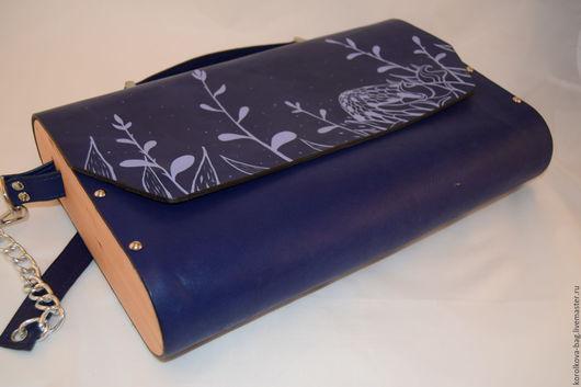 """Женские сумки ручной работы. Ярмарка Мастеров - ручная работа. Купить Портфель """"Ночь"""". Handmade. Тёмно-синий, сумка с росписью"""