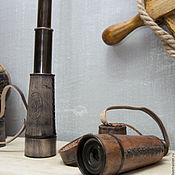 Материалы для творчества ручной работы. Ярмарка Мастеров - ручная работа Ретро подзорная труба Дрейк, в кожаном футляре. Handmade.