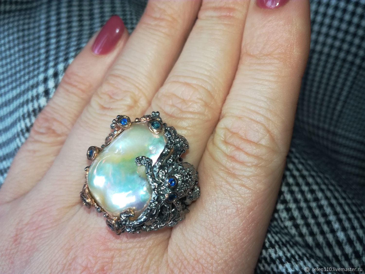 Ring 'Foam Cove' with a Baroque pearl and sapphires, Rings, Voronezh,  Фото №1
