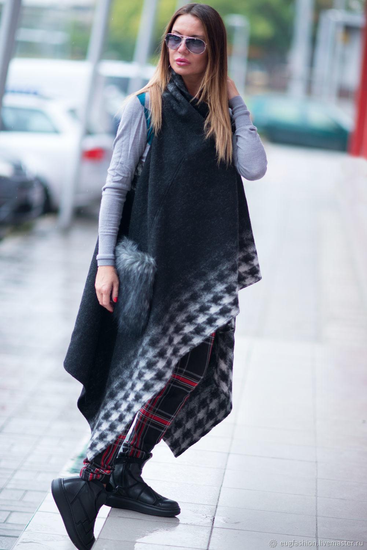 Длинный шерстяной жилет с карманами