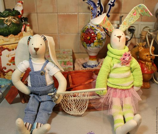 Куклы Тильды ручной работы. Ярмарка Мастеров - ручная работа. Купить Зайчишки на рыбалке. Интерьерная композиция. Коллекция зайцев.. Handmade.