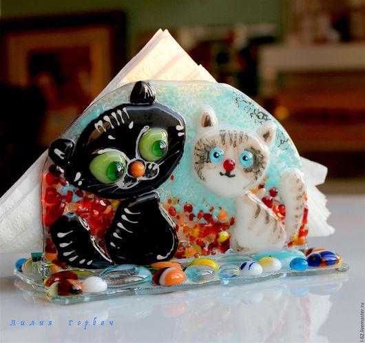 Кухня ручной работы. Ярмарка Мастеров - ручная работа. Купить салфетница из стекла, фьюзинг  Васечка и Масечка. Handmade. Разноцветный, стекло