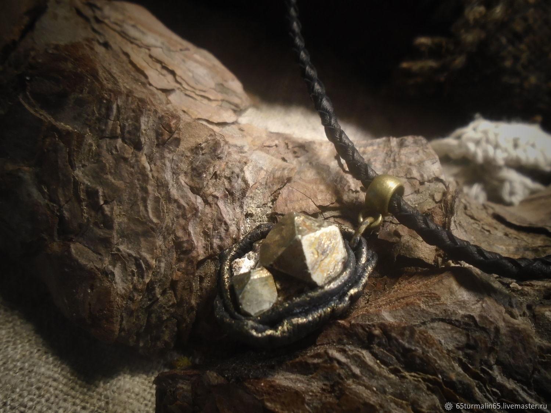 Пирит в кожаном обрамлении, Кулон, Челябинск,  Фото №1