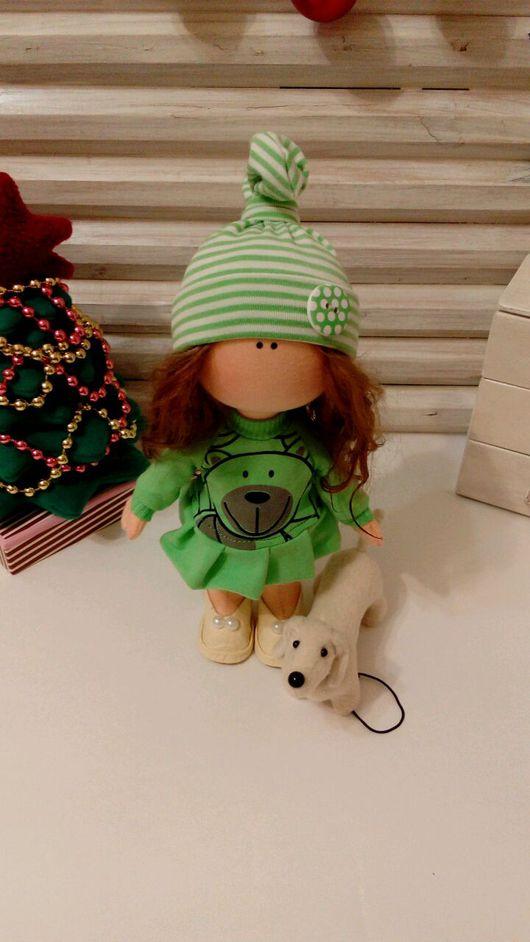 Коллекционные куклы ручной работы. Ярмарка Мастеров - ручная работа. Купить Интерьерная куколка. Наташа. Handmade. Зеленый, флис