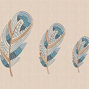 """Материалы для творчества handmade. Livemaster - original item Machine embroidery designs """"Silk feathers"""" set bt181. Handmade."""