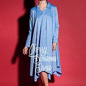 Одежда ручной работы. Ярмарка Мастеров - ручная работа Синее коктейльное повседневное хлопковое миди макси платье рубашка. Handmade.