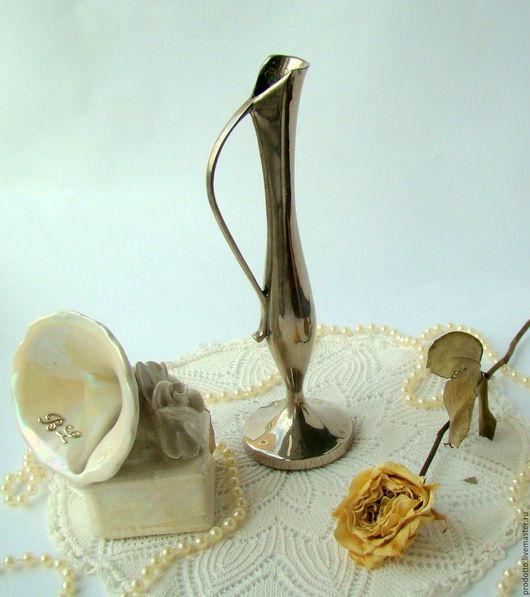Винтажные предметы интерьера. Ярмарка Мастеров - ручная работа. Купить Ваза-подсвечник.. Handmade. Серый, небесный, ваза для сухоцветов, подсвечник
