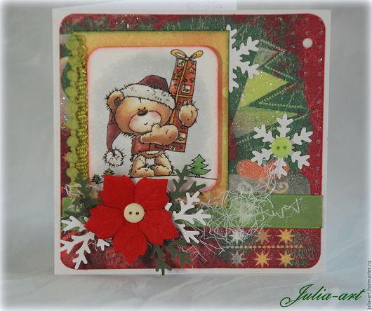 """Открытки к Новому году ручной работы. Ярмарка Мастеров - ручная работа. Купить Мини-открытка """"Новогодняя"""" (2). Handmade."""