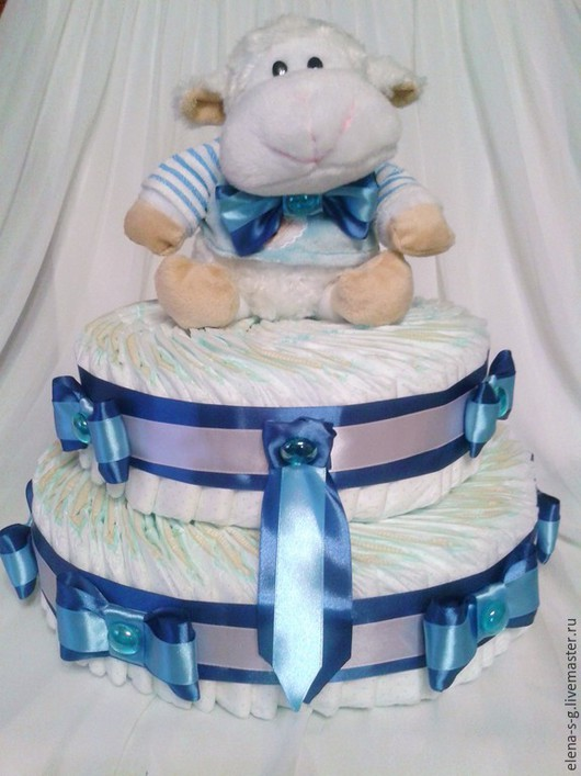 """Подарки для новорожденных, ручной работы. Ярмарка Мастеров - ручная работа. Купить Торт из памперсов """"Голубые бантики"""". Handmade. Синий, новорожденному"""