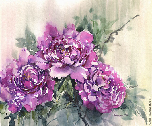 Картины цветов ручной работы. Ярмарка Мастеров - ручная работа. Купить Картина акварелью с пионами Пионы в китайском стиле. Handmade.
