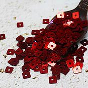 Материалы для творчества handmade. Livemaster - original item Sequins: curly 5 mm Bordeaux metallic square 2 g. Handmade.