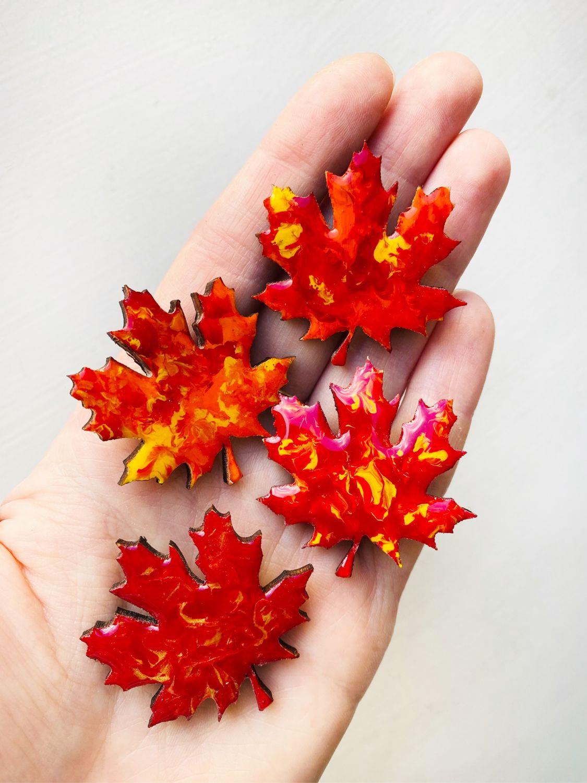 Брошь «Красный осенний лист», Брошь-булавка, Санкт-Петербург,  Фото №1