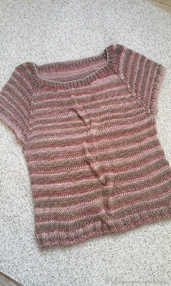 Knitted vest-t-shirt 'Striped-1' handmade, Vests, Dmitrov,  Фото №1