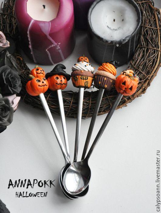 """Ложки ручной работы. Ярмарка Мастеров - ручная работа. Купить Ложки """"Evil pumpkins"""". Handmade. Комбинированный, тыква, ручная работа"""