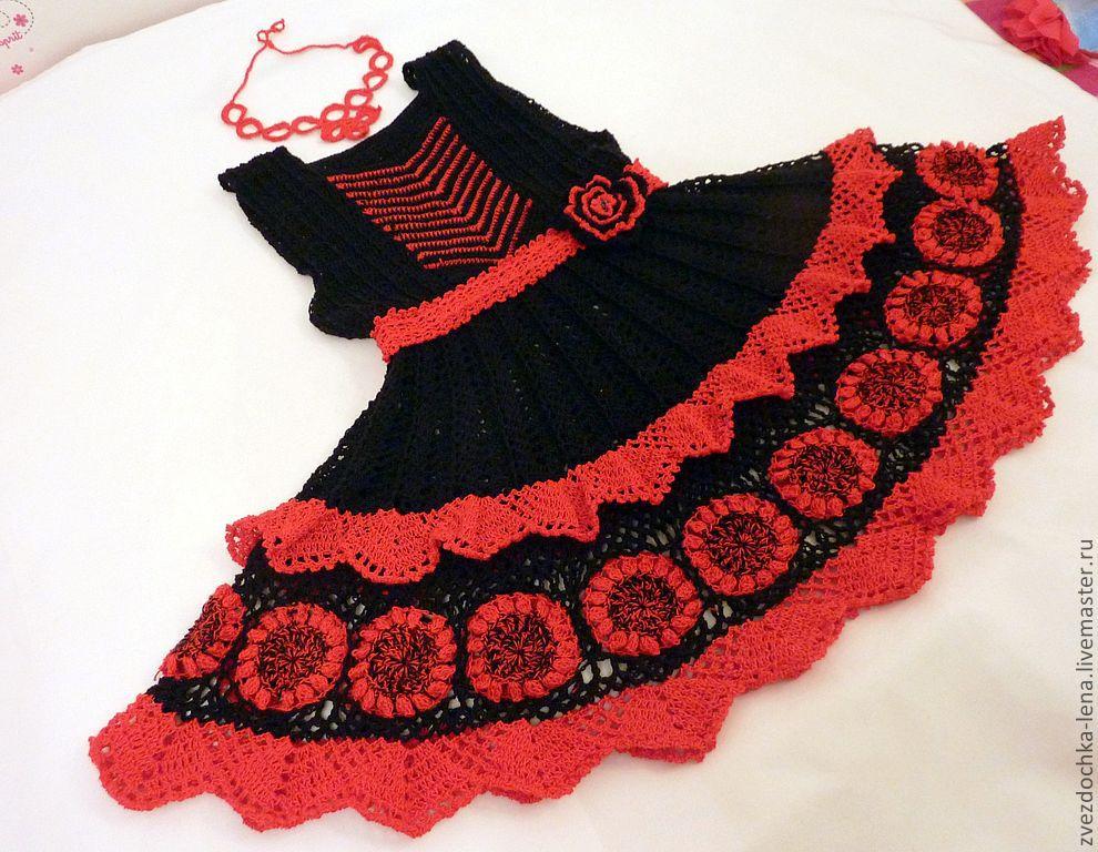 Как украсить вязаное платье для девочки своими руками 52