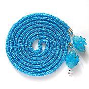 Украшения handmade. Livemaster - original item Lariat beaded blue. Handmade.