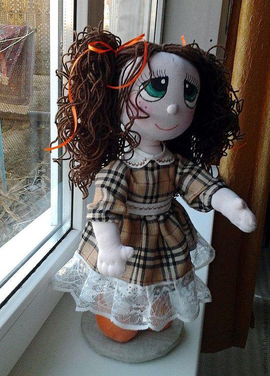 Коллекционные куклы ручной работы. Ярмарка Мастеров - ручная работа. Купить Малышка-дошколенок. Handmade. Оранжевый, нежная, забота, лён
