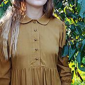 Одежда handmade. Livemaster - original item Cotton dress with a dark mustard collar. Handmade.