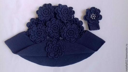 """Панамы ручной работы. Ярмарка Мастеров - ручная работа. Купить Вязаная шляпа """" ЕвроДЖИНС"""". Handmade. Тёмно-синий, шапка"""