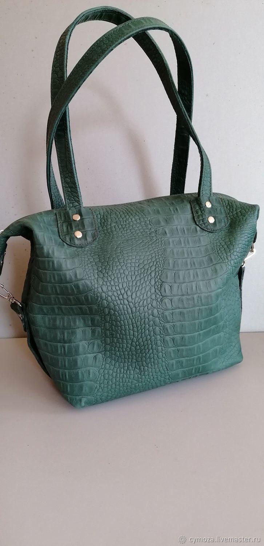Bag leather women's Bag handbag.Crocodile emerald, Classic Bag, Krasnodar,  Фото №1