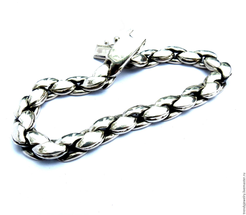 Мужской браслет из серебра 925 пробы