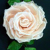 """Брошь-булавка ручной работы. Ярмарка Мастеров - ручная работа Шелковая Роза """"Нежность"""". Handmade."""