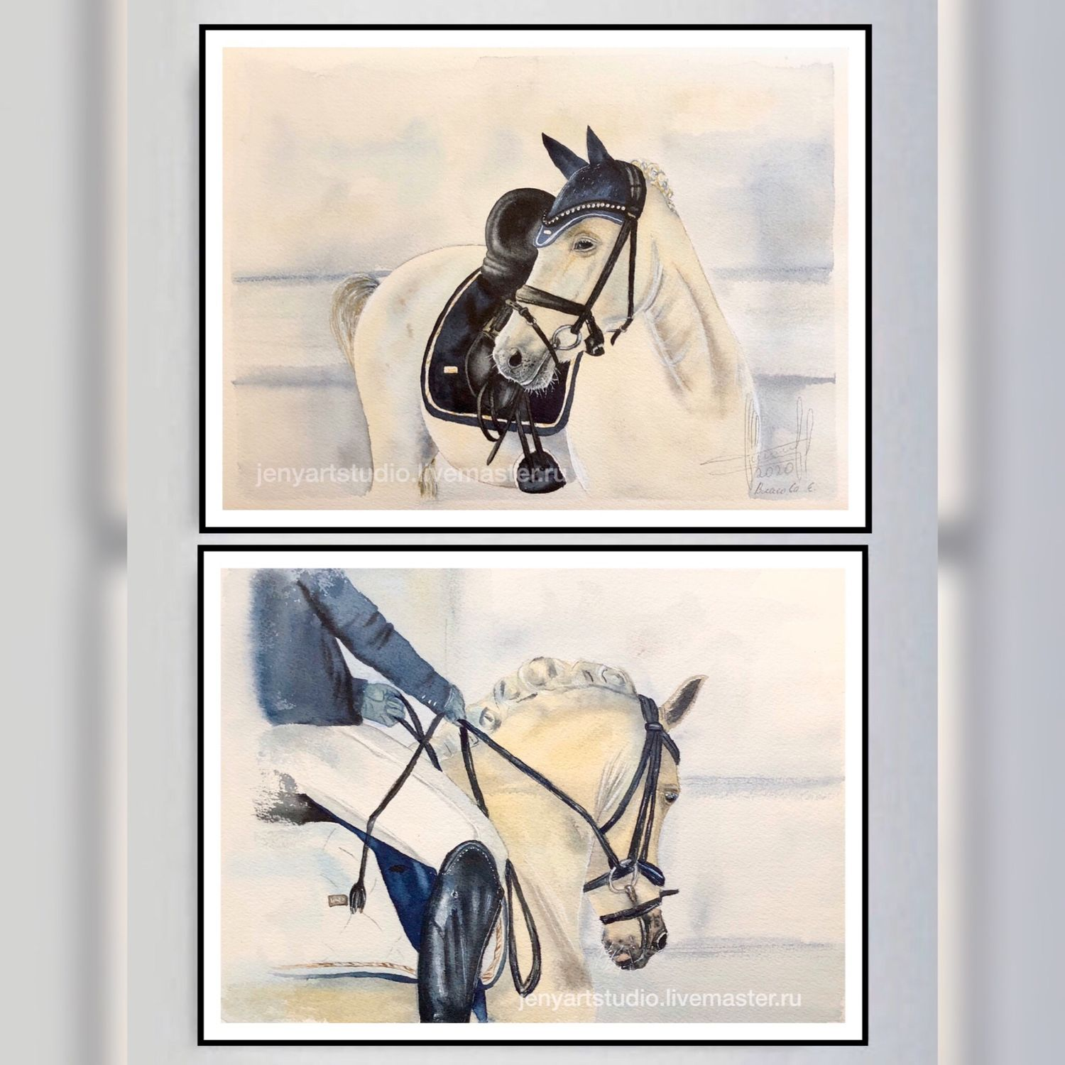 Watercolor painting 'Preparation for the tournament' 23h31 cm. painting with a horse, Pictures, Kolomna,  Фото №1