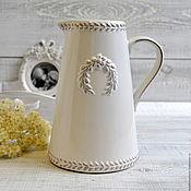 Материалы для творчества ручной работы. Ярмарка Мастеров - ручная работа Кувшин керамика белая Лавр, 4082. Handmade.