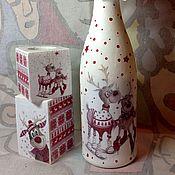 Для дома и интерьера ручной работы. Ярмарка Мастеров - ручная работа Подсвечник декупаж и бутылочка набор. Handmade.