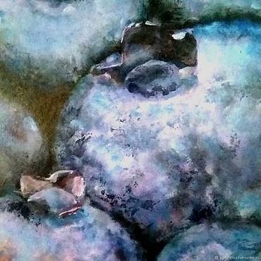 Картины и панно ручной работы. Ярмарка Мастеров - ручная работа Космическая черника Картина акрилом (голубой темно-синий). Handmade.