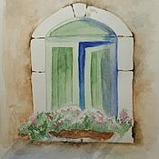 """Картины и панно ручной работы. Ярмарка Мастеров - ручная работа Акварелька """"Окно"""". Handmade."""