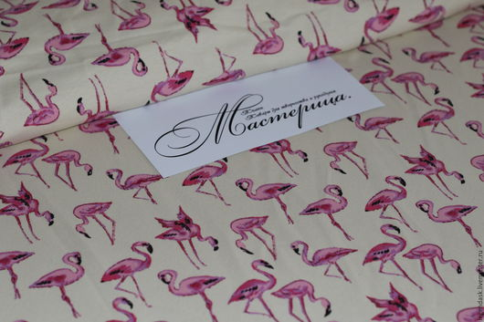 Шитье ручной работы. Ярмарка Мастеров - ручная работа. Купить Футер фламинго на экрю. Handmade. Фуксия, трикотажные ткани, на свитшоты