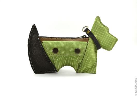 Органайзеры для сумок ручной работы. Ярмарка Мастеров - ручная работа. Купить Собака-косметичка(зеленая). Handmade. Косметичка, зверошмотки, коричневый, горошек