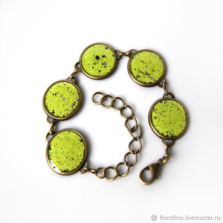 Lime green bracelet with enamel, Chain bracelet, Moscow,  Фото №1