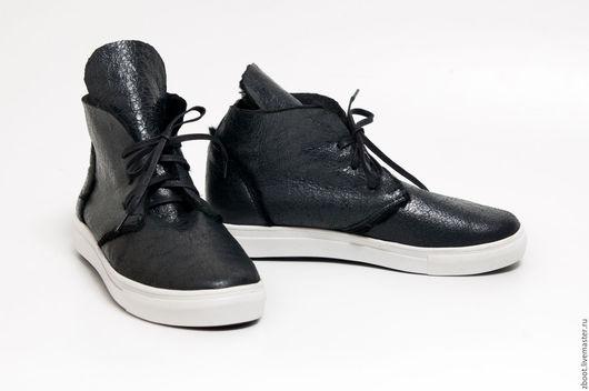 Обувь ручной работы. Ярмарка Мастеров - ручная работа. Купить Кеды меховые Trend. Handmade. Черный, женские кеды