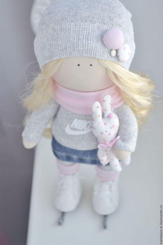 Коллекционные куклы ручной работы. Ярмарка Мастеров - ручная работа. Купить Интерьерная кукла в коньках. Handmade. Бледно-розовый, фигуристка