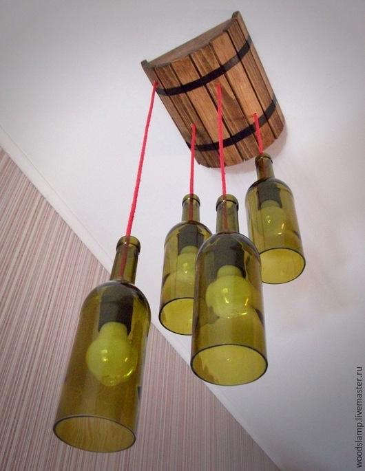 """Освещение ручной работы. Ярмарка Мастеров - ручная работа. Купить Лампа потолочная в виде бочки и винных бутылок """"В гостях у Бахуса"""". Handmade."""